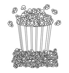 grayscale contour with popcorn container vector image