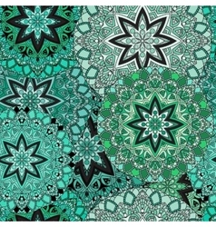 Green seamless design in oriental style stellar vector