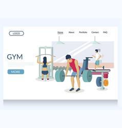 Gym website landing page design template vector