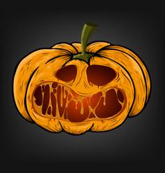 halloween pumpkin with a creepy face on a dark vector image