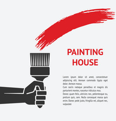 hand with brush painting house concept vector image