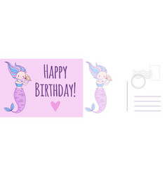 happy birthday postcard holiday card with mermaid vector image