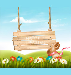 Happy easter background colorful eggs chocolate vector
