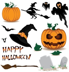 Happy Halloween and Pumpkin Witch Spooky Bats vector image