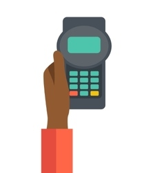 Holding credit card machine vector image