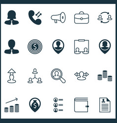 hr icons set collection of destination find vector image vector image