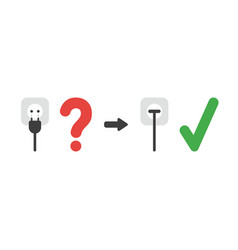 icon concept of plug plugged into outlet with vector image