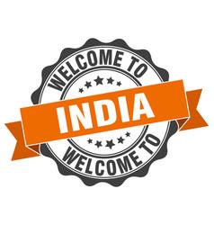 India round ribbon seal vector