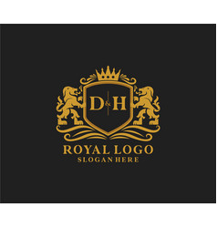 Initial dh letter lion royal luxury logo template vector