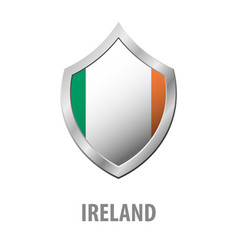 Ireland flag on metal shiny shield vector