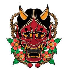 japanese traditional hannya mask tattoo vector image
