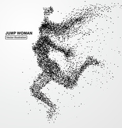 Jump woman graphics composed of particles vector