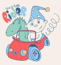 little teddy bear racer with a dragon vector image