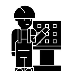 Master - foreman - engineer with machine-tool icon vector