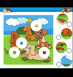 Match pieces puzzle with cute dogs characters vector