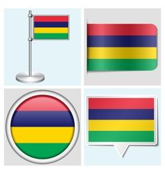 Mauritius flag - sticker button label flagstaff vector image
