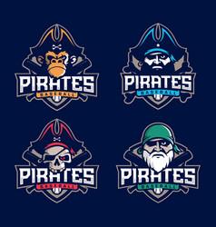 modern professional set emblem pirates for vector image