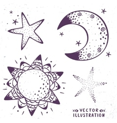 Moon stars sun vector