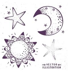 moon stars sun vector image vector image