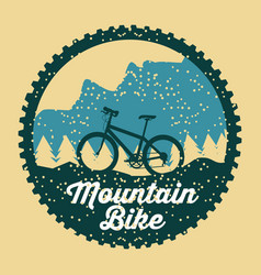 Mountain bike grunge badge fun sport vector