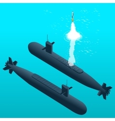 Nuclear submarine traveling underwaterNuclear vector image