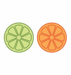 orange and lemon halves vector image