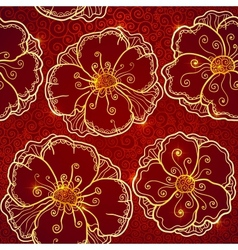 Ornate vinous flowers seamless pattern vector