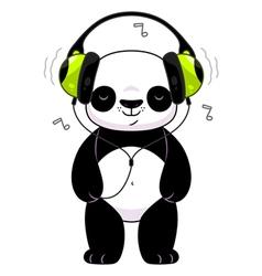 Panda in headphones vector image