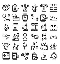 Personal trainer icons set outline style vector