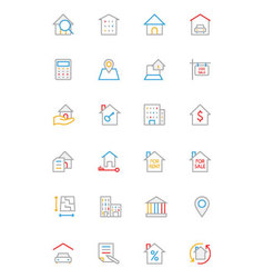 Real Estate Colored Line Icons 1 vector image