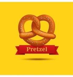 Realistic pretzel on the yellow background vector
