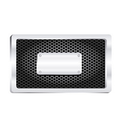 rectangle frame metallic with grill perforated and vector image