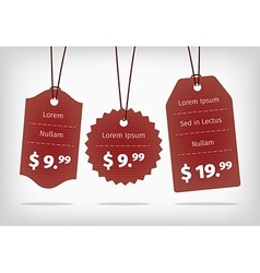 Red hanging cardboard pricing tags vector image