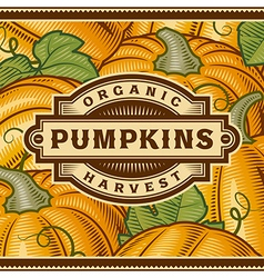 Retro Pumpkin Harvest Label vector image