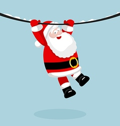 Santa Claus hanging on the rope vector image