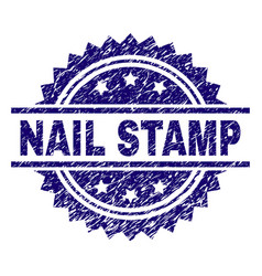 Scratched textured nail stamp seal vector