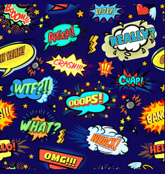 Seamless popart pattern with comic bubbles vector