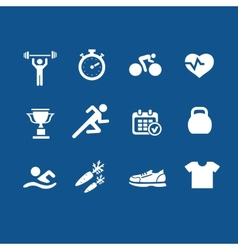 Set health and fitness icons vector