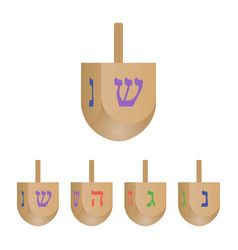 Set of hanukkah dreidels icons isolated on white b vector