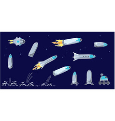 set of of space ship rocket vector image