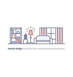 simple interior apartment design services line vector image