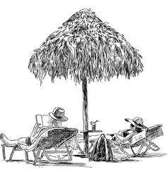 Spouses on the beach sunbathing vector