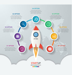 Startup circle infographics with rocket 7 options vector