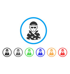 swat soldier rounded icon vector image