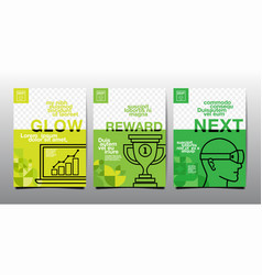 Template layout design cover book green tone vector