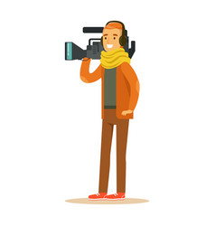 Tv videographer with camera and headphones vector