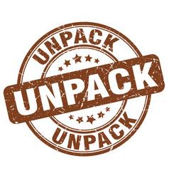 Unpack brown grunge stamp vector