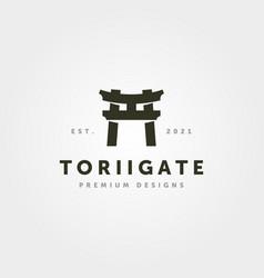 Vintage torii gate logo minimalist symbol design vector