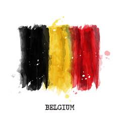watercolor painting design flag belgium vector image