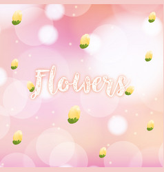 Watercolor painting with yellow flowers on pink vector